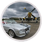 Eleanor Mustang With P51 Round Beach Towel by Gill Billington