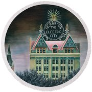 Electric City At Night Round Beach Towel