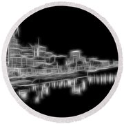 Electric Nashville Skyline At Night Round Beach Towel by Dan Sproul