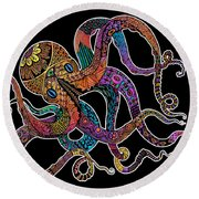 Electric Octopus On Black Round Beach Towel