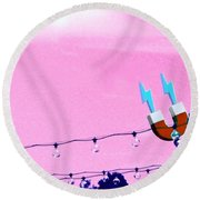 Electric Pink Round Beach Towel by Valerie Reeves