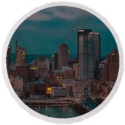 Electric Steel City Round Beach Towel