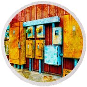 Electrical Boxes Iv Round Beach Towel