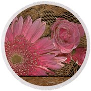 Elegant Gold Lace Round Beach Towel