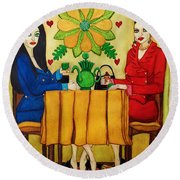 Round Beach Towel featuring the painting Elegant Ladies In A Coffee-shop by Don Pedro De Gracia