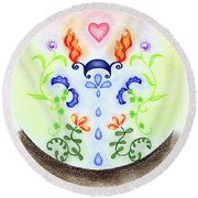 Round Beach Towel featuring the drawing Elements by Keiko Katsuta