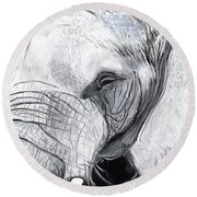Round Beach Towel featuring the painting Elephant 1 by Jeanne Fischer
