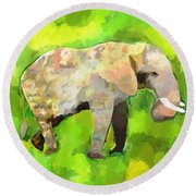 Round Beach Towel featuring the painting Elephant 4 by Jeanne Fischer