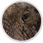 Elephant   #9210 Round Beach Towel by J L Woody Wooden