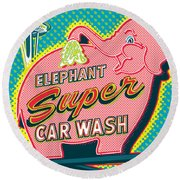 Elephant Car Wash And Space Needle - Seattle Round Beach Towel