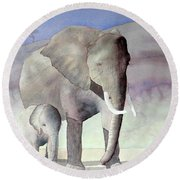 Elephant Family Round Beach Towel by Laurel Best
