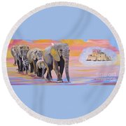Elephant Fantasy Must Open Round Beach Towel