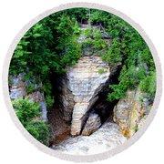 Elephant Head Rock Round Beach Towel by Patti Whitten