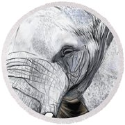 Round Beach Towel featuring the painting Elephant II by Jeanne Fischer