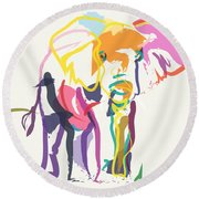 Elephant In Color Ecru Round Beach Towel
