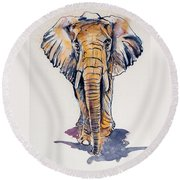 Elephant In Gold Round Beach Towel by Kovacs Anna Brigitta