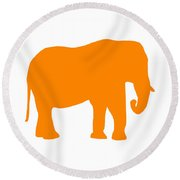 Elephant In Orange And White Round Beach Towel