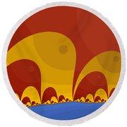 Round Beach Towel featuring the digital art Elephant Lake by Mark Greenberg