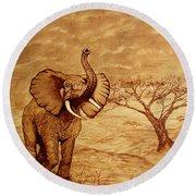 Elephant Majesty Original Coffee Painting Round Beach Towel