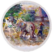 Round Beach Towel featuring the painting Elephant Painting by Bernadette Krupa