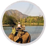 Elephant Ride On The Khan River, Luang Round Beach Towel