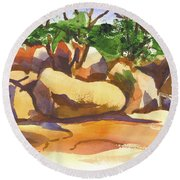 Round Beach Towel featuring the painting Elephant Rocks Revisited I by Kip DeVore