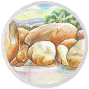 Round Beach Towel featuring the painting Elephant Rocks State Park II  No C103 by Kip DeVore