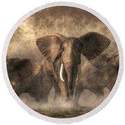 Elephant Stampede Round Beach Towel