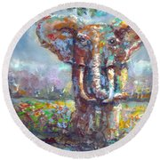 Round Beach Towel featuring the painting Elephant Thirst by Bernadette Krupa