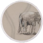 Elephant Charcoal Study #1 Round Beach Towel