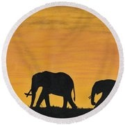 Elephants - At - Sunset Round Beach Towel
