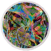 Elephant's Kaleidoscope Round Beach Towel