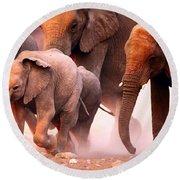 Elephants Stampede Round Beach Towel