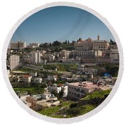 Elevated Town View From Manger Street Round Beach Towel