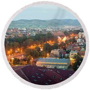 Elevated View Of A City Lit Up At Dusk Round Beach Towel