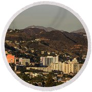 Elevated View Of A City, West Round Beach Towel by Panoramic Images