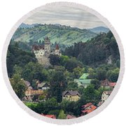 Elevated View Of A Town, Bran Castle Round Beach Towel