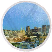 Elevated View Of City And Coit Tower Round Beach Towel