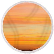 Elevated View Of Mountains At Sunset Round Beach Towel