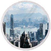 Elevated View Of Skylines, Hong Kong Round Beach Towel by Panoramic Images