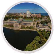Elevated View Of The Museum Of Science Round Beach Towel