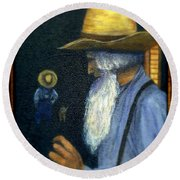 Round Beach Towel featuring the painting Eli Remembers by Gail Kirtz