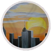 Elipse At Sunrise Round Beach Towel