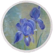 Round Beach Towel featuring the painting Elizabeth's Irises by Judith Rhue