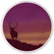 Elk At Dusk Round Beach Towel