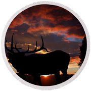 Elk At Sunset Round Beach Towel