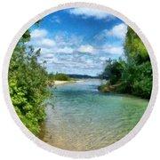 Elk River- Elk Rapids Michigan Round Beach Towel