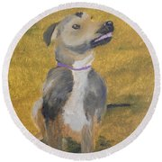 Round Beach Towel featuring the painting Ella by Pamela  Meredith
