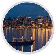 Elliott Bay Seattle Skyline Night Reflections  Round Beach Towel