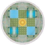 Round Beach Towel featuring the digital art Ellipse Quilt 1 by Kevin McLaughlin